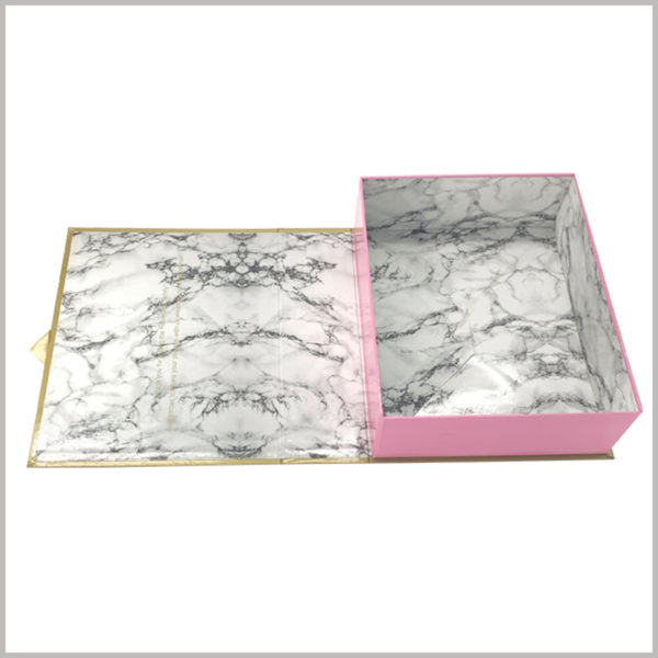 """Creative hard cardboard boxes for wig packaging,The pattern inside the package looks more like """"marble"""" and is unique and attractive, which will quickly promote the rapid spread of creative boxes, products, and brands."""