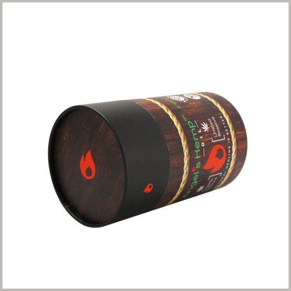 """Creative large packaging cardboard tubes for hemp oil boxes, The top cover of large round boxes is similar to the """"flame"""" logo, which is attractive."""