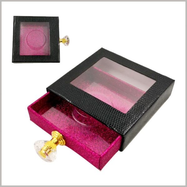 Custom Black Eyeslash packaging box with diamond knob and window. The black leather paper is used as the laminated paper of the drawer outer box, which has a good touch and visual sense.