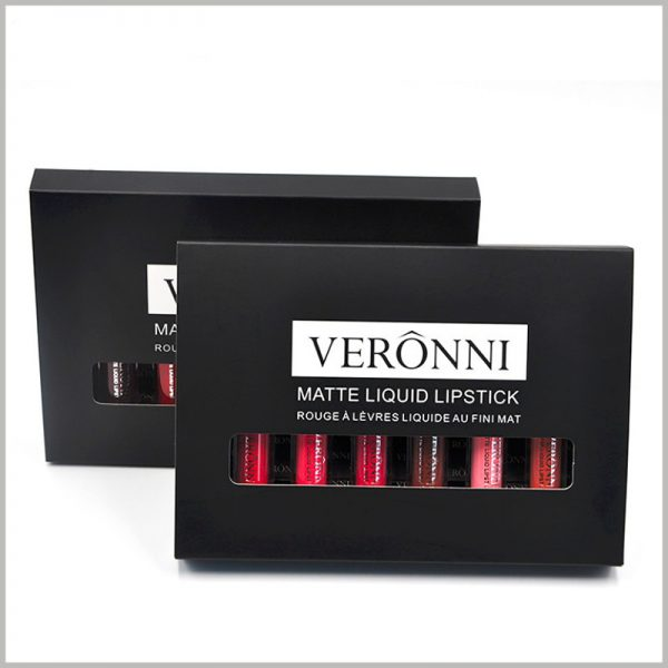 Custom Black lip gloss packaging with windows hold 6 bottles. The front of the black box is printed with lip gloss brand information, lip gloss type and promotional slogan to attract customers to buy the product.