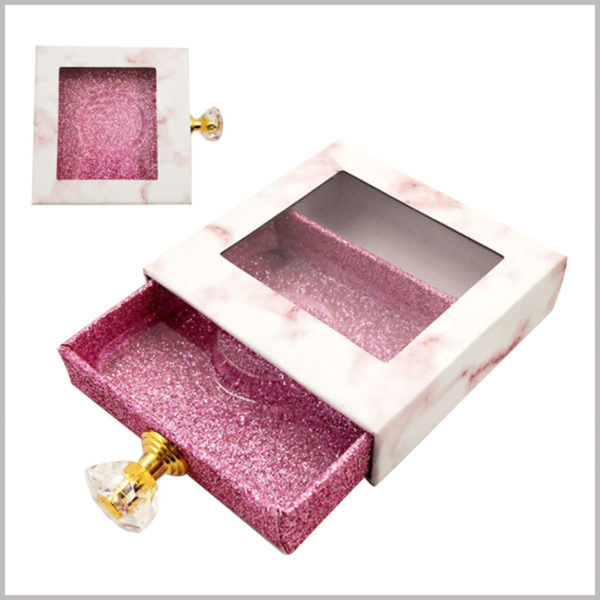 Custom Eyeslash packaging boxes with diamond knob and window. Fashionable cosmetic packaging, diamond-shaped handles improve the quality of packaging and product value.