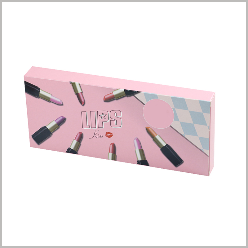 Custom Foldable packaging for 8 sticks of lipstick boxes. The inside of the carton pack has blister, which will fix the lipstick and the product will not move inside the boxes.
