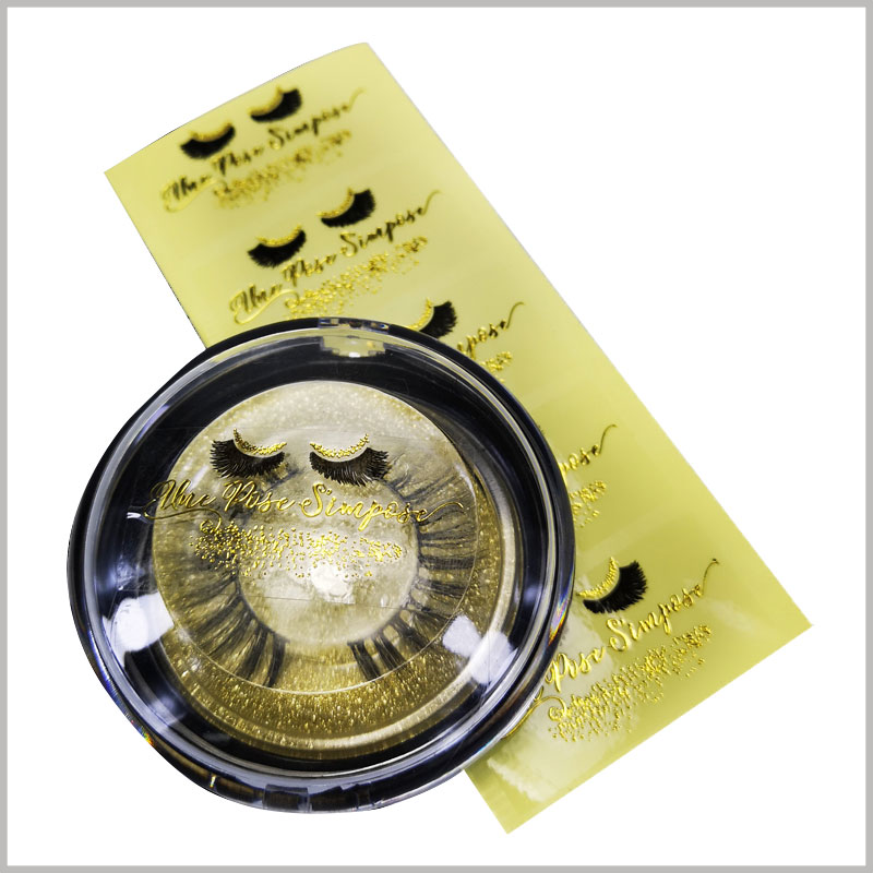 Custom Gold stamping printing label for fake eyelash box. Use circular labels on creative false eyelash boxes, and use creative packaging as product containers at the lowest cost.