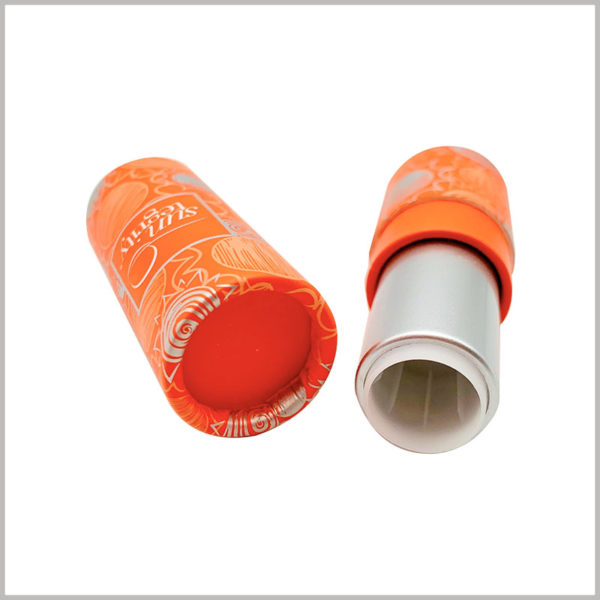 Custom Orange sunscreen lipstick tube empty. High-quality product packaging helps to reflect the value of the product; customized packaging and printing content will reflect product differentiation.
