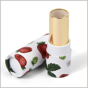 Custom Printed cardboard tubes for lipstick packaging boxes. Strawberry is the main design pattern printed on paper tubes, and lipstick products are attractive to customers.