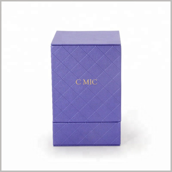 Custom blue cardboard boxes for perfume bottles packaging.The front of the perfume boxes has blue imitation cloth paper, prismatic grids and fine dot patterns, which are unique.