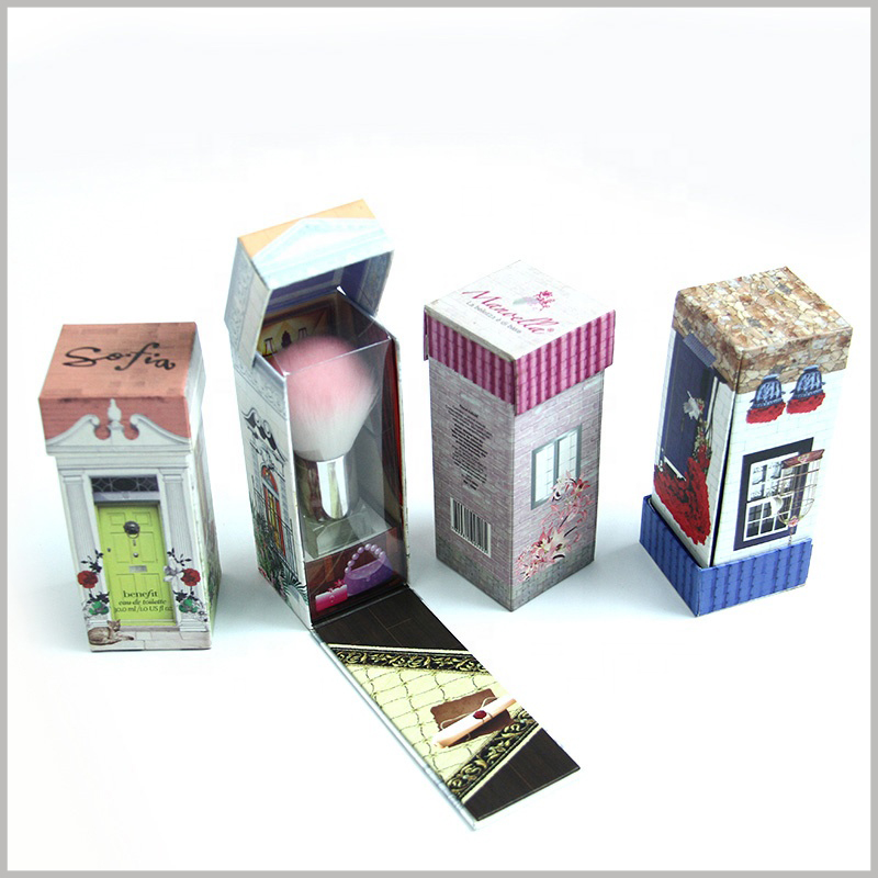 "Custom cardboard boxes for cosmetic brush packaging. The creative packaging design makes the whole cardboard box look like a ""house"", which is very attractive."