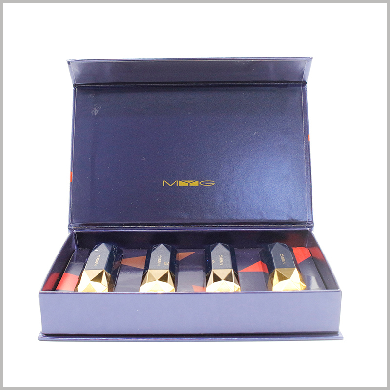 Custom cardboard lipstick gift boxes holds 4 bottles. Custom cosmetic packaging determines the size of the boxes based on the capacity and quantity of the product and the specific arrangement.
