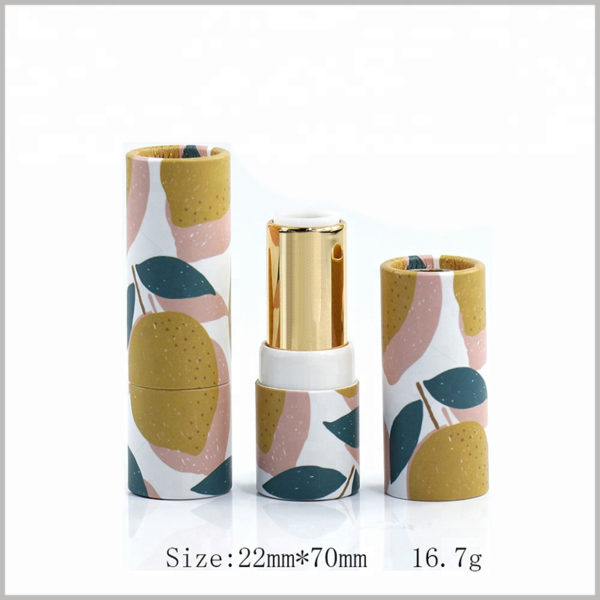 Custom empty tube packaging for lipstick.The diameter of the paper tube is 22mm, the height is 70mm, and the capacity of the lipstick is 16.7g.