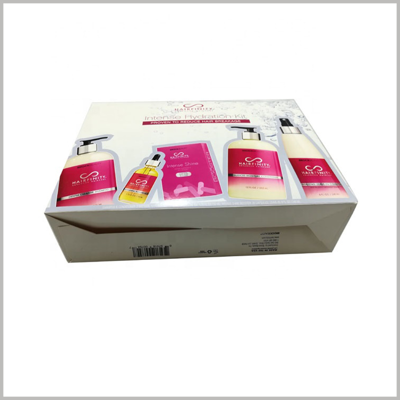 Custom foldable packaging for shampoo box set. The clever packaging design makes the shampoo packaging foldable, which reduces the cost of purchasing packaging.