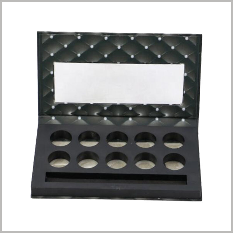 Custom packaging for 10 color eyeshadow with makeup brush. Unique eye shadow palette packaging design, 10 color eyeshadows and cosmetic brushes are sold together.