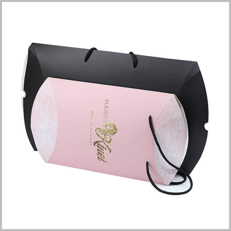 Custom pillow boxes for hair bundles packaging. You can choose pink or black pillow boxes according to the characteristics of the product, and the size of the customized packaging can also be differentiated.