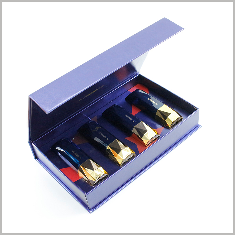 Custom printed lipstick gift boxes holds 4 bottles. Large cardboard box packaging, flip packaging design, opening the package to use the product is very easy.