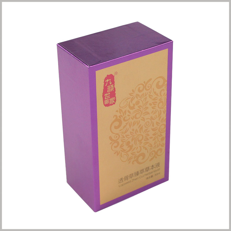 Custom small cardboard boxes for essential oil packaging. This packaging uses cardboard as the raw material and adopts a rectangular parallelepiped upper and lower cover structure.