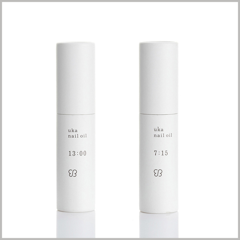 Custom white small paper tube for nail polish packaging. The simple paper tube packaging design only prints the brand name, product name and promotional slogan.