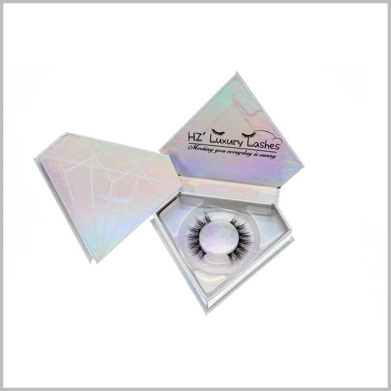 Diamond-shaped creative eyelashes boxes with logo wholesale.Laser paper is used as a laminate for false eyelash packaging, which improves the color richness and attractiveness of the packaging.