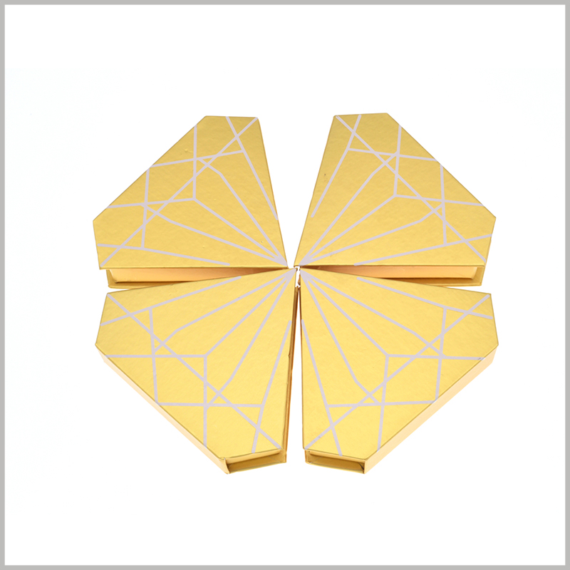 """Diamond-shaped creative package for eyelashes boxes.This package looks like a golden """"diamond"""", attracting a lot of consumers' favors and generating the impulse to buy."""