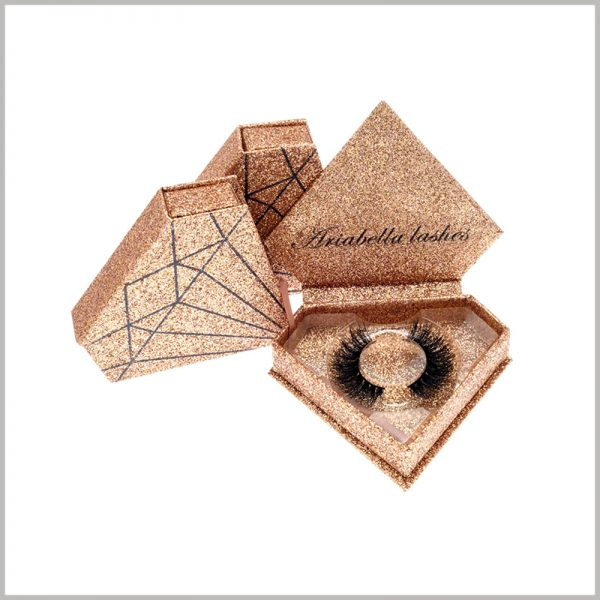"""Diamond-shaped creative packaging for eyelashes boxes.The structure and pattern of this golden package is similar to """"diamond"""", attracting the attention of many consumers, and people are impressed by the package and product."""