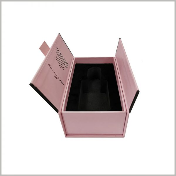 Double open gift boxes for perfume packaging, Detailed text can be printed on the inner side of the perfume packaging cover to give a better description of the product.