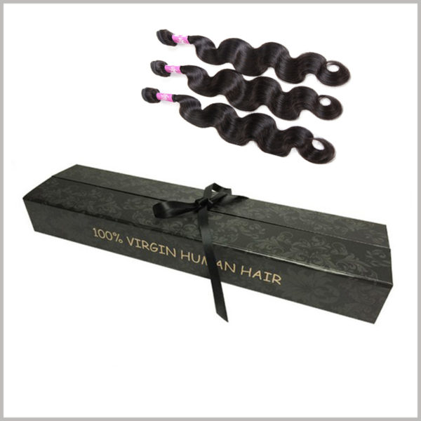 Exquisite gift packaging for hair extension boxes.It is one of the best choices for hair extension products to put fake lengths inside the boxes for sale.