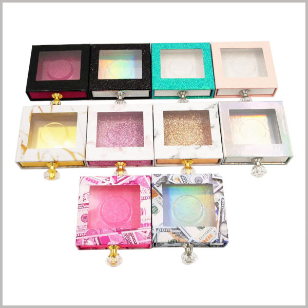 Custom square Eyelash packaging box with diamond knob and window wholesale.