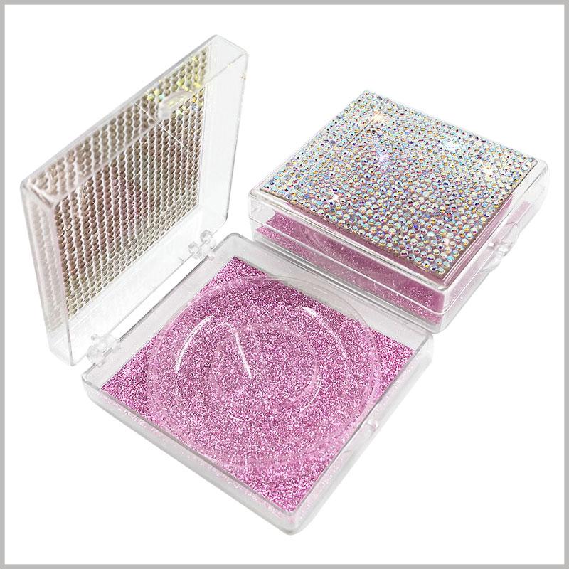 False eyelash packaging with crystal decoration