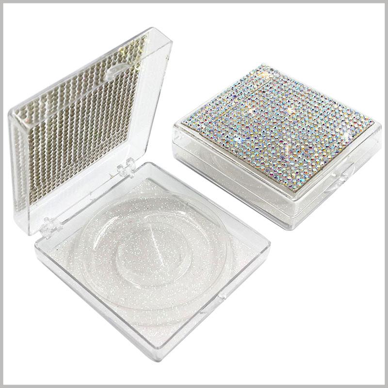 False eyelashes boxes with crystal decoration