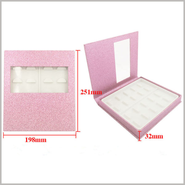 False eyeslash packaging box with window for pack of 10 pairs.Box size: L251xW198xH32mm, Material: 1000GSM Cardboard + Texture Paper + Plastic Tray, Weight: 240gsm.