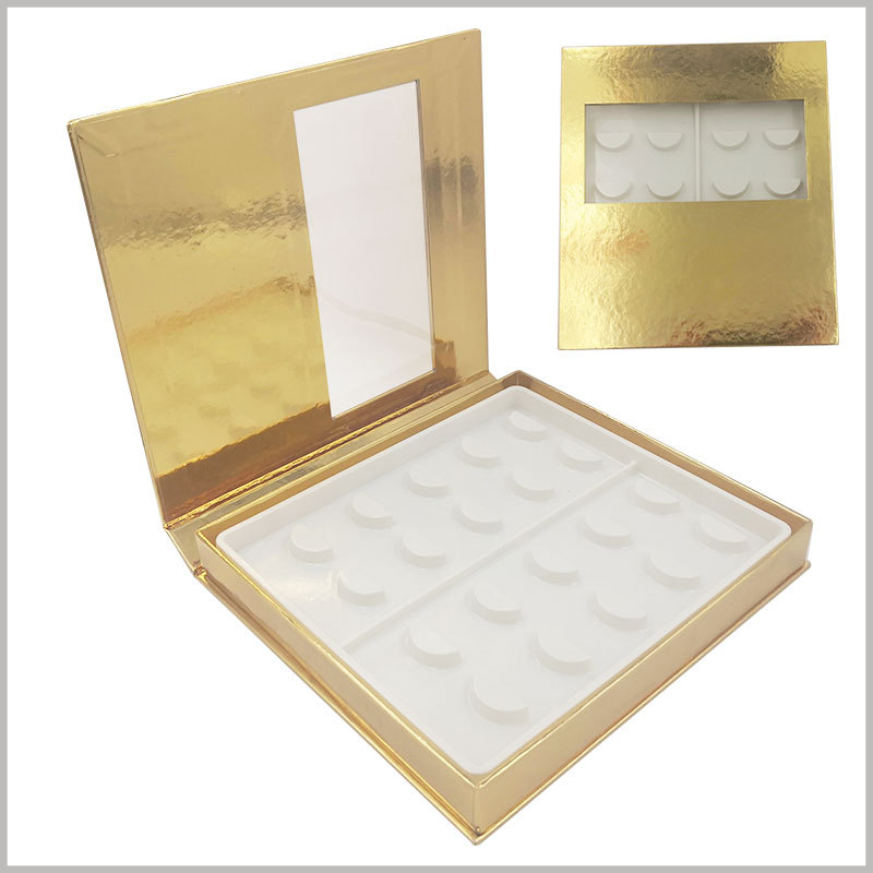 False eyeslash packaging boxes with window for pack of 10 pairs. The golden cardboard box packaging has a transparent window design, which will allow you to see the style of some false eyelashes, increasing the attractiveness.