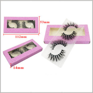 Foldable False eyeslash packaging with window for pack of 2 pairs. Box size: L112xW53xH14mm, Material: 350GSM Texture Cardboard+ PVC Window + Plastic Tray, Weight 10gsm