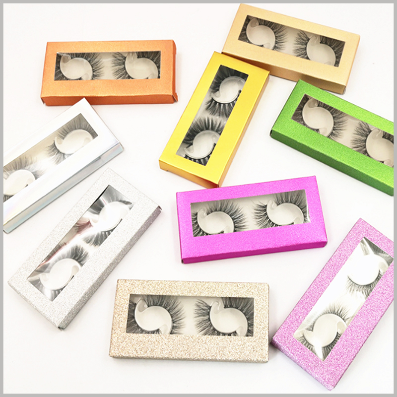 Foldable eyeslash packaging with window for pack of 2 pairs. 2 pairs of false eyelashes are available in a variety of colors and can be used directly for wholesale and sales. Please tell us your favorite eyelash boxes style.