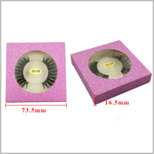 Foldable glitter eyelash packaging box for one pair. The reference size of the small false eyelash packaging box is 73.5 × 73.5 × 16.5mm, and the small package is easier to carry.
