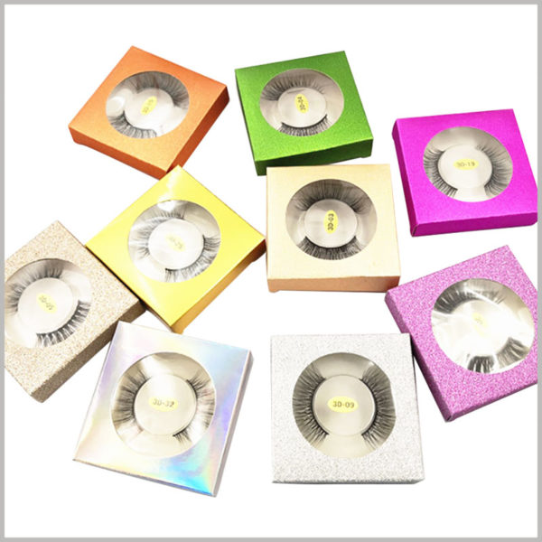 Foldable glitter small eyelash packaging box for one pair. This single pair of false eyelash packaging takes up little space and can be folded, reducing the storage and transportation costs of the packaging.