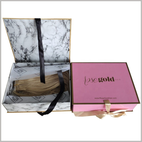 Foldable hard cardboard boxes for wig packaging,You can find more product and brand information through the company website printed on the package.