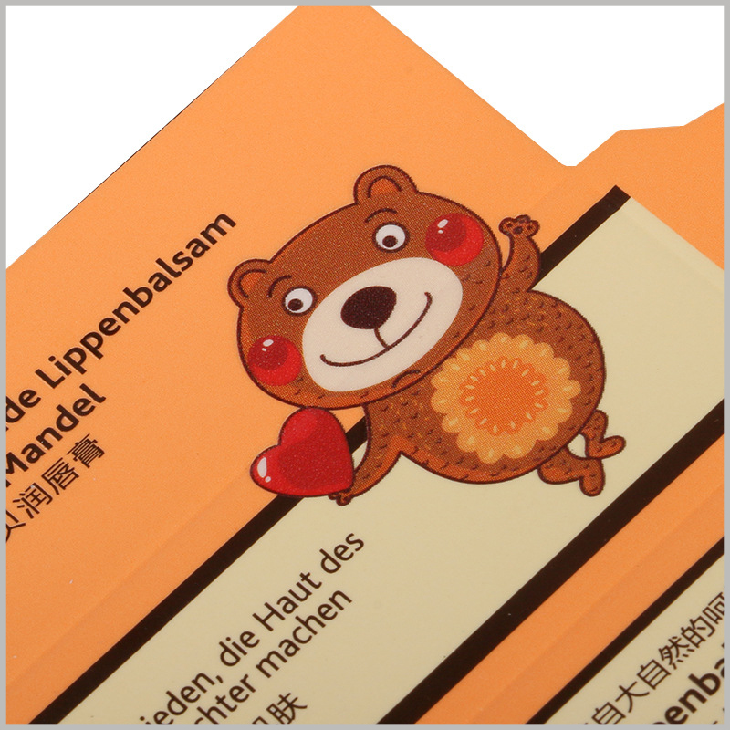 Foldable packaging for lip balm. The cute brown bear as the main pattern of packaging design will attract children's attention.