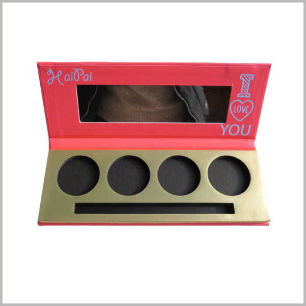 Four-color eyeshadow packaging with makeup brush. The makeup mirror inside the lid of the customized eyeshadow palette will make it easier to use the eyeshadow products.