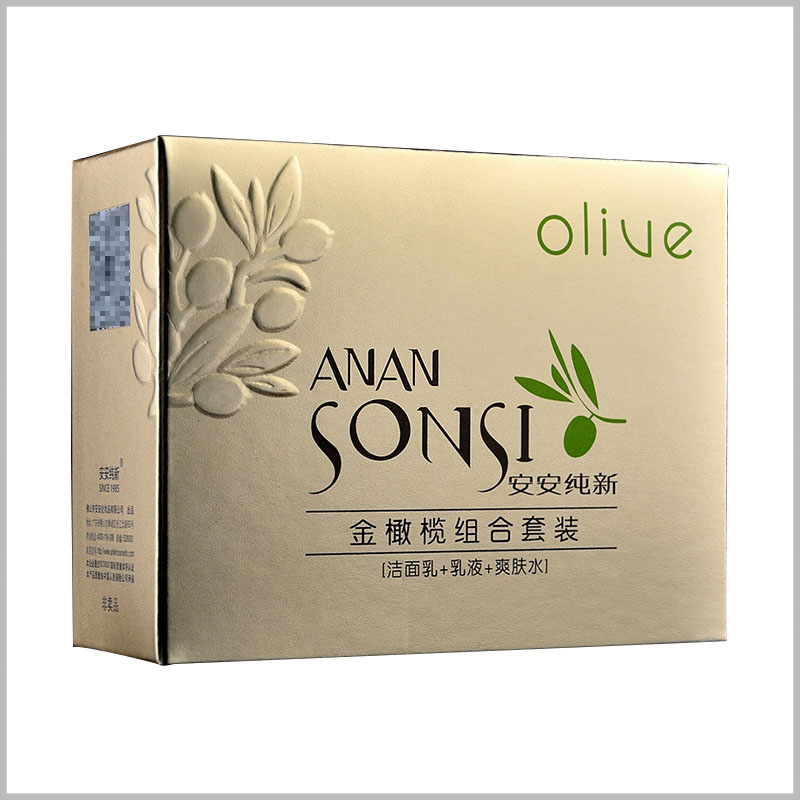 Gold skin care product packaging with emboss printing. The packaging of skin care products has a golden visual sense, and customers' awareness of the potential value of the product will be improved.