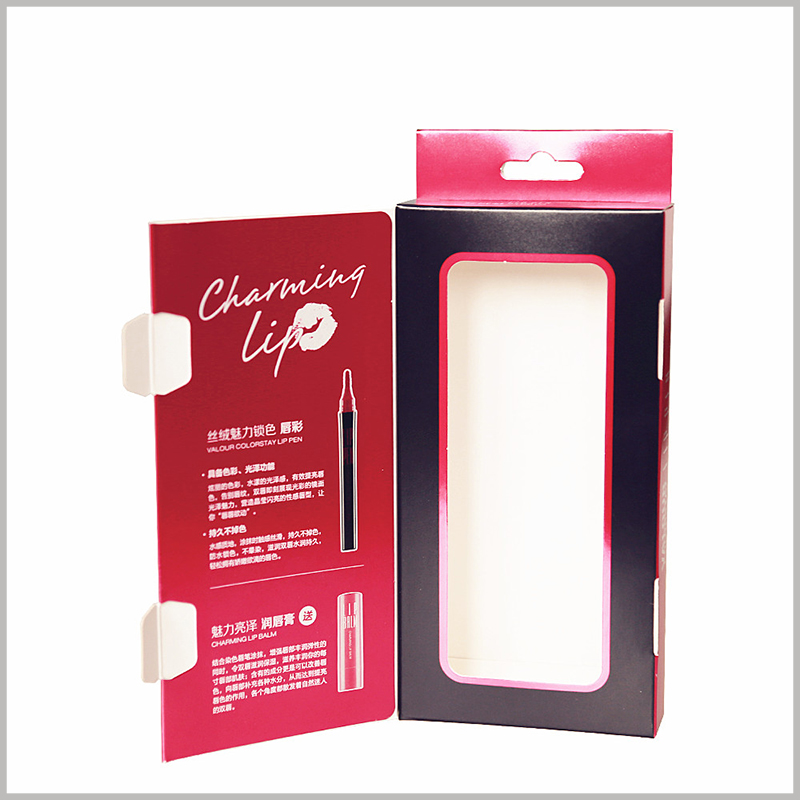 Lip gloss and lip balm set box packaging wholesale. A window is designed inside the box, and in the case of sealed packaging, you can see the product style inside the package.