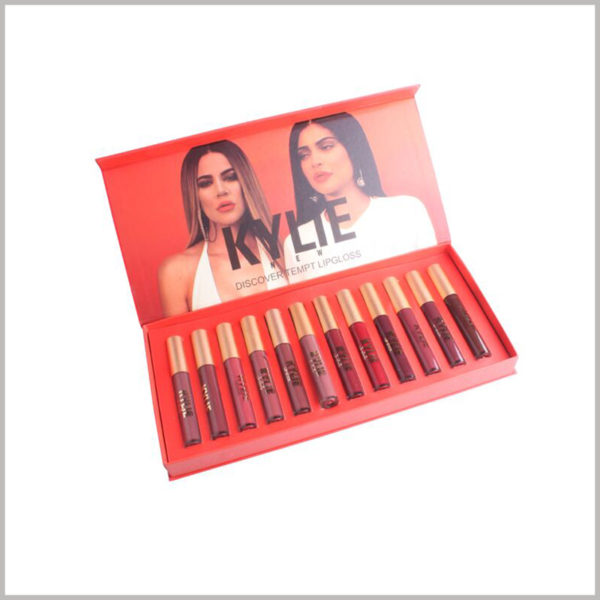Make up boxes for 12 lip gloss packaging. The overall design is mainly red, which is consistent with the lip color tone.In terms of structure, a book-shaped box is used.