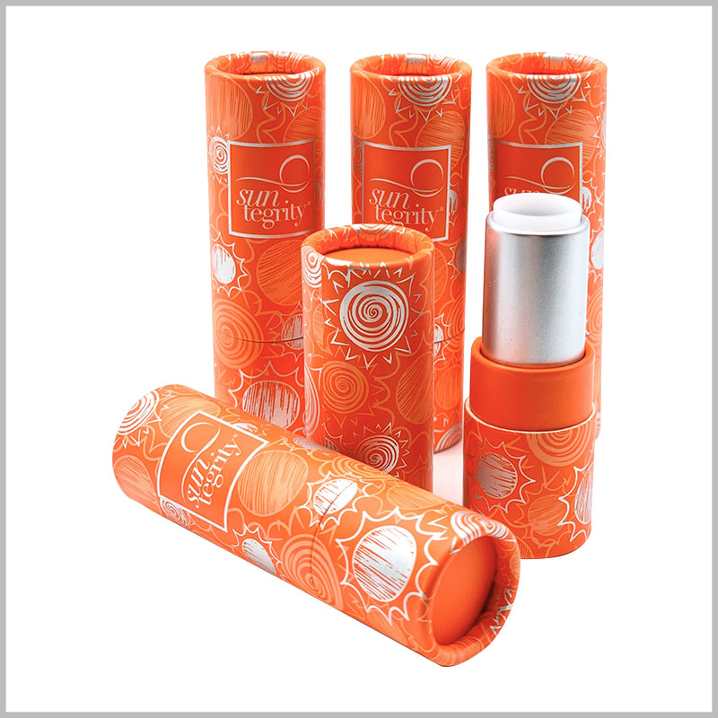 Orange sunscreen lipstick tube empty. The factory provides flexible order quantities to support the trial order of lipstick tubes or the needs of start-up companies for small batches of lipstick tubes.