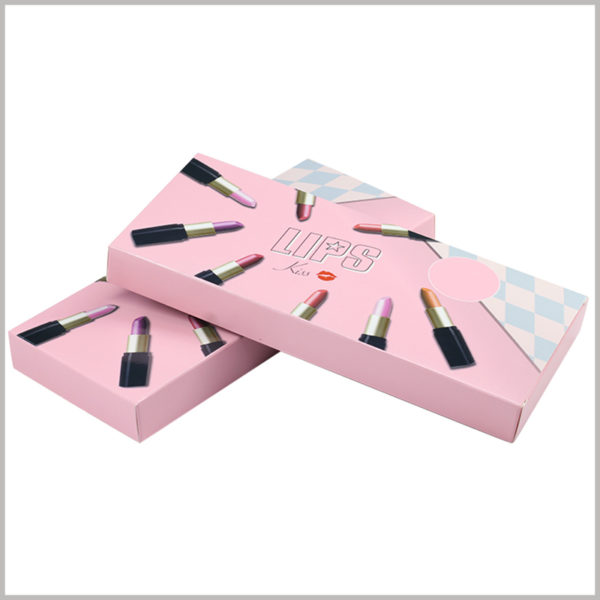 Pink Foldable packaging for 8 sticks of lipstick. 8 lipsticks of different styles are printed on the front of the product packaging, which is the most intuitive way to promote the product.