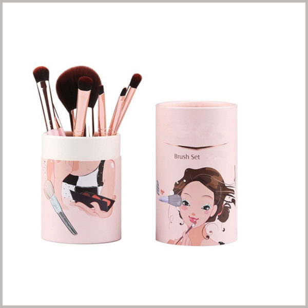 Pink cardboard round tubes for makeup brush packaging