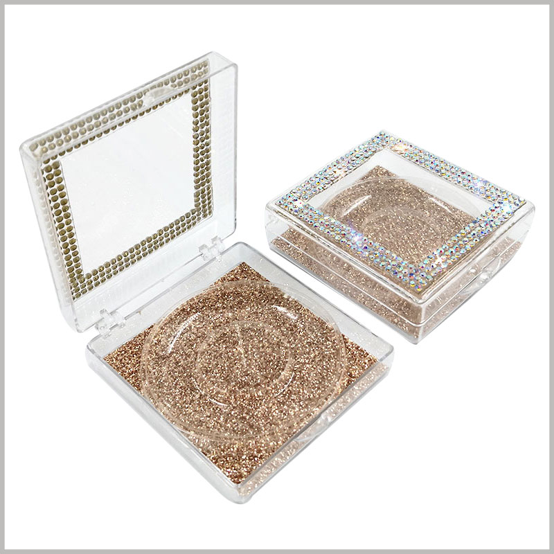 Plastic False eyelash packaging with crystal decoration