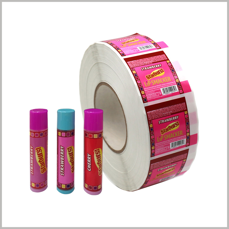 Printed roll labels for lip smackers.Roll labels are the best way to save sticker storage space and can effectively reduce various costs.
