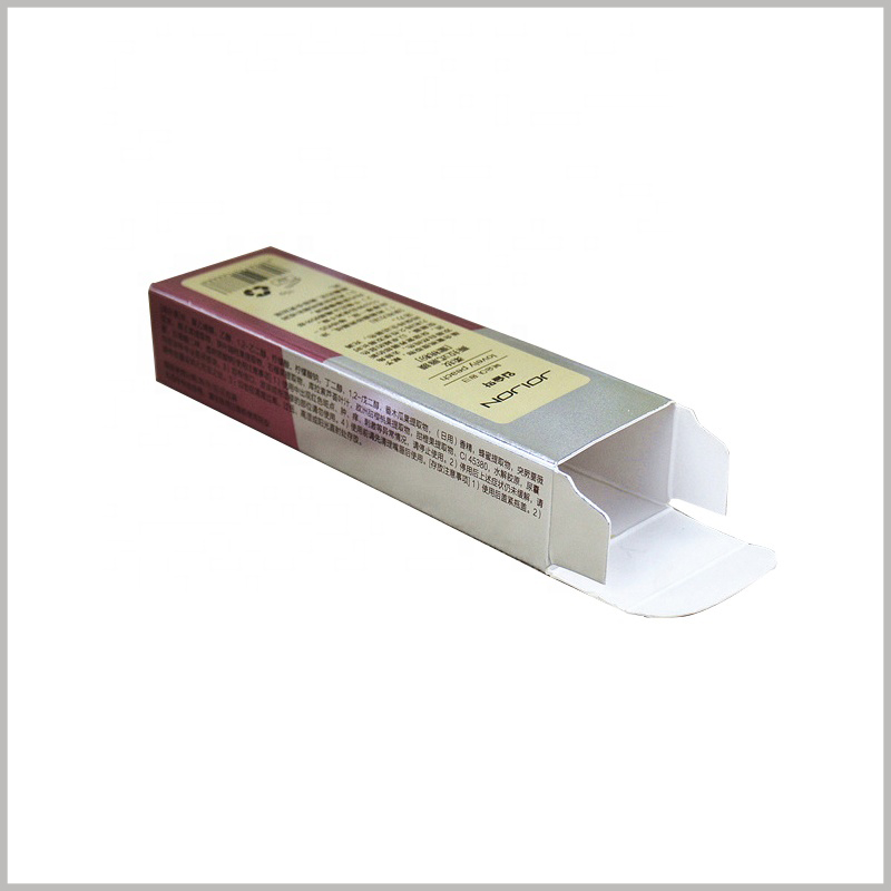 Printed small packaging for single lip gloss boxes. This packaging box is made of single layer cardboard with 128g chrome paper on the surface to realize the printing