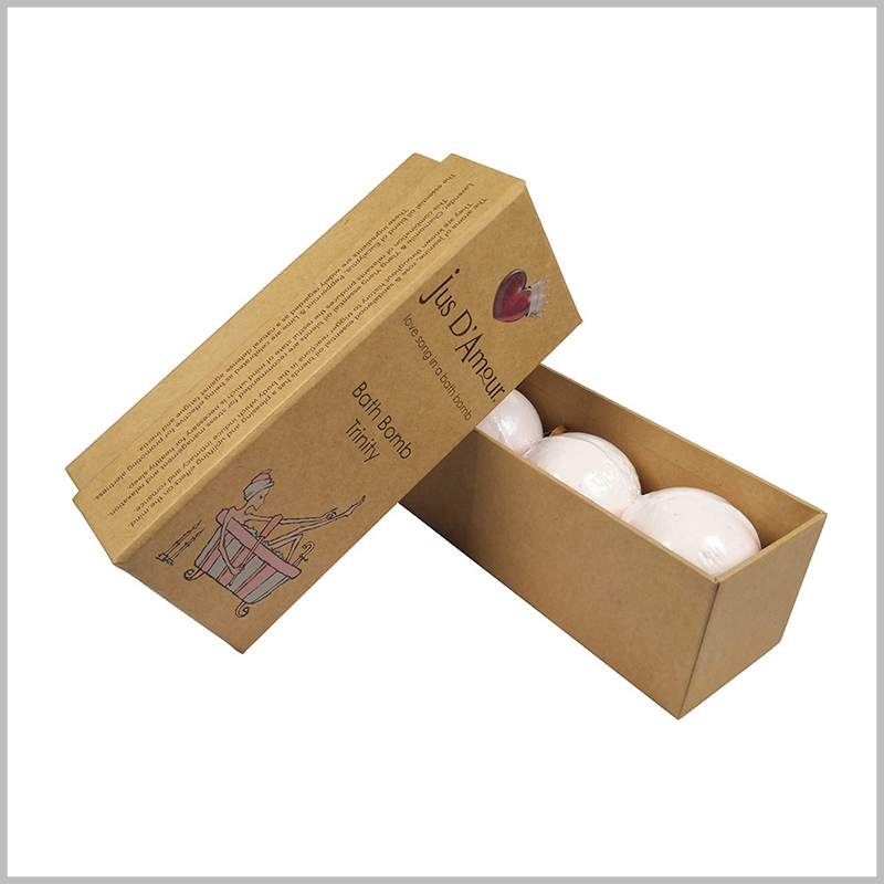 Quality eco friendly kraft paper packaging for bath bombs. The kraft paper packaging is sturdy, can withstand external pressure, and protect the product well.