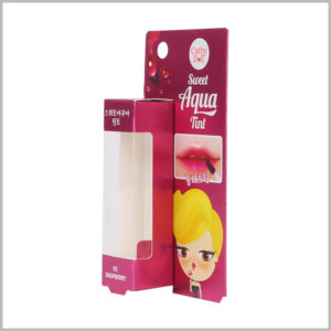 Single lip gloss packaging boxes with windows. Customers can see the products inside the package through the window of the customized makeup boxes, satisfying their desire to peek at the lip gloss.