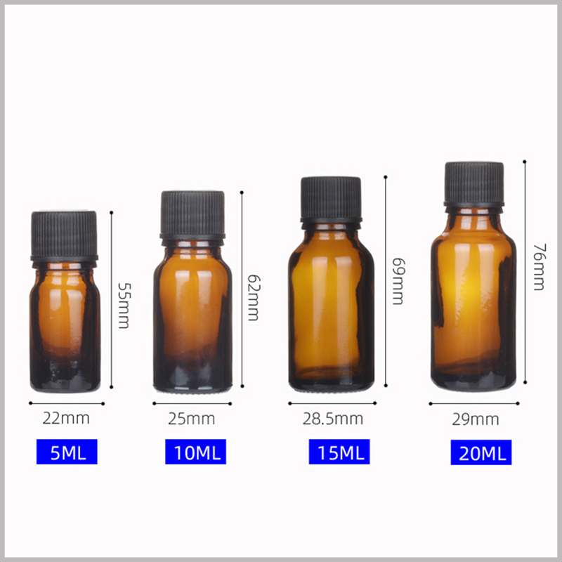 Small Glass Essential Oil Bottles With Orifice and Cap