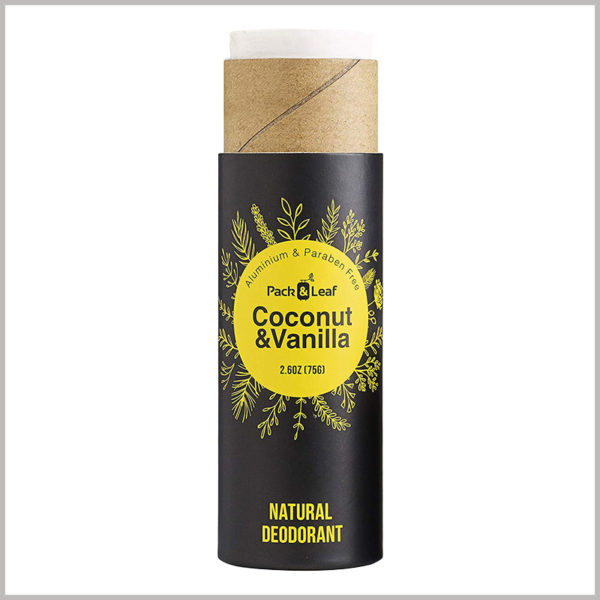 Small cardboard tube for 75g coconut vanilla deodorant box. Paper tube with black background and yellow as pattern color for packaging design.