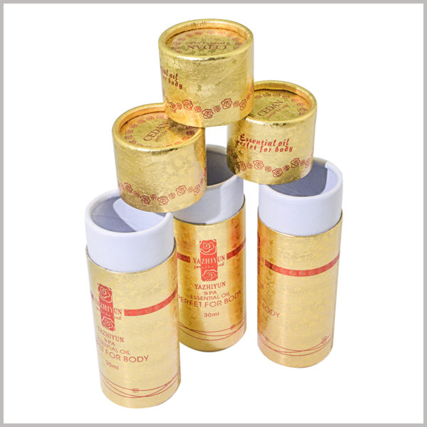 Small cardboard tubes for 30ml body oil packaging wholesale. The specific packaging design content is reflected in the paper tube through printing, which plays a role in promoting the product and brand.